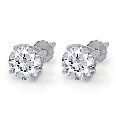 2.00 CT Round Brilliant Screw Back Basket Studs Earrings 14K Solid White Gold