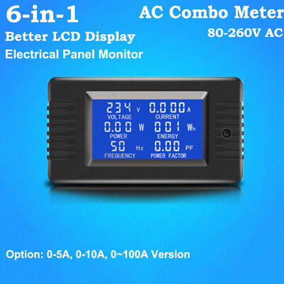AC 80V-260V 6-in-1 LCD AC Combo Meter Voltage Current Amp kWh Watt Power Monitor