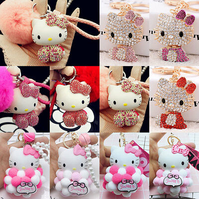Hello Kitty Women's Key Chain Cat Keychain Wallet Bag Pendant Ring Strap Gift