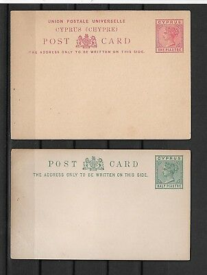 [C369] Cyprus Queen Victoria 1/2 and 1  piastre old mint prepaid postcards.