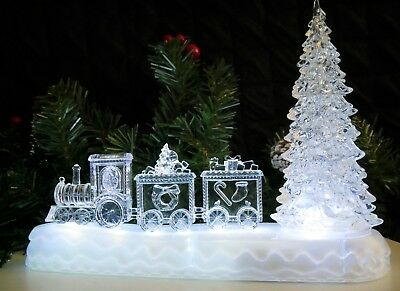 Festive Pre Lit Colour Changing LED Magical Christmas Train Scene Decoration