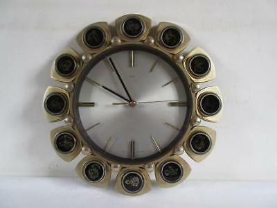 Lovely Vintage Retro 1960's/70's Metamec Zodiac Horoscope Quartz Wall Clock