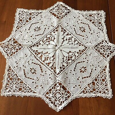 ANTIQUE tablecloth linen ivory cluny bobbin lace open cut embroider EDWARDIAN