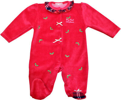 "Baby Boys Girls Spanish Style ""My First Christmas"" Velour & Bow Babygrow Romper"