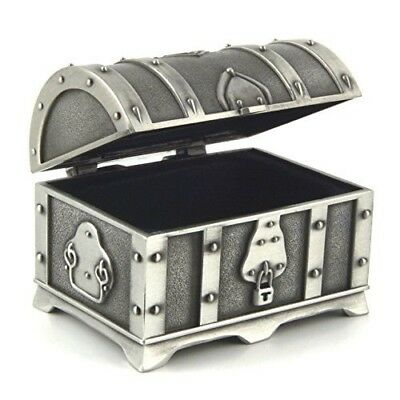 Antique Silver Metal Treasure Chest Trinket Gift Ring Jewelry Small Fashion Box