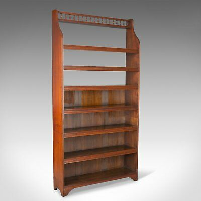 Antique Open Bookcase, Tall, English, Walnut, Book Shelves, Edwardian Circa 1910
