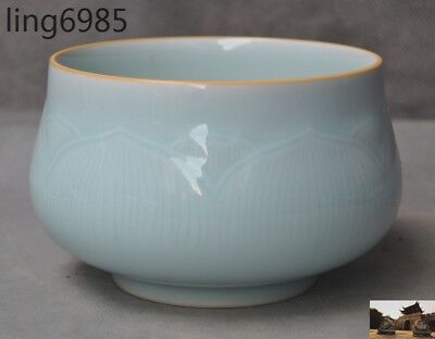 """5"""" Old Chinese dynasty Longquan kiln porcelain glaze lotus statue bowl Cup bowls"""