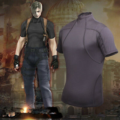 RESIDENT EVIL 4 LEON KENNEDY'S Tactics Tee T-Shirt Cosplay Costume Tight Top