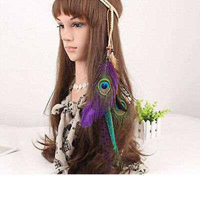 Indian Style Peacock Feather Leaf Hairdress Weave Headpieces Headband G