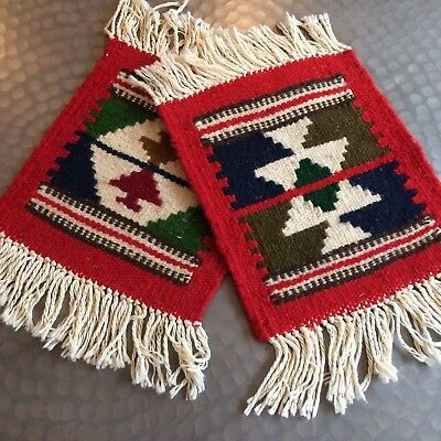 Vtg 2PC table mat rug woven wool MEXICAN Navajo? Indian fringe red ivory Cinco