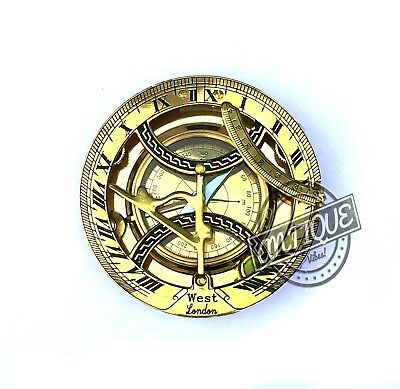 Antique Nautical Compass Brass Sundial Military Compass Vintage Collectible Gift