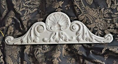 Antique French solid carved wooden pediment or fronton, pale grey