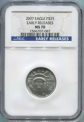 2007 $25 Platinum Eagle, 1/4 Oz, NGC MS70. Early Release