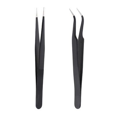 MagiDeal 2pcs Stainless Curved+Straight Eyelash Extension Pick Tweezers Set