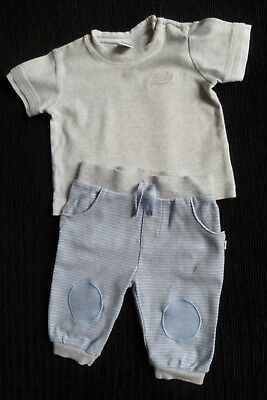 Baby clothes BOY 3-6m outfit mid-bluegrey stripe trousers/SS grey top SEE SHOP!