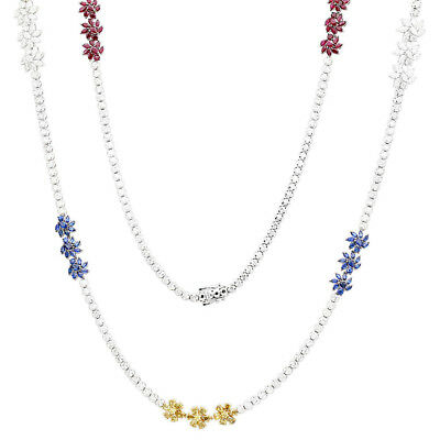 "0.38ct Ruby,Sapphire,Citrine & Diamond 14k White Gold Over 18"" Flower Necklace"