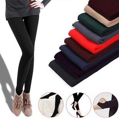 Women Warm Winter Thick Footless Tights Slim Stretch Pants LX