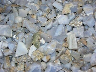 Blue chalcedony tumble polished holly blue agate mix size/grade 1/4 pound lot