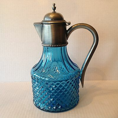 Pressed blue Diamond Point Claret/Jug Pewter Glass Decanter