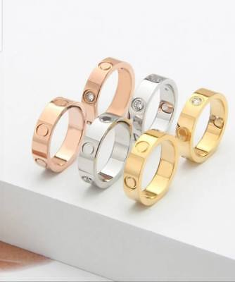 Real Stainless Steel Lovvee Ring Women Men Gold/Rosegold/Silver + Red Bag