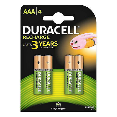 4 x Duracell AAA 750 mAh Rechargeable Batteries NiMH DURALOCK Pre Charged HR3 R3