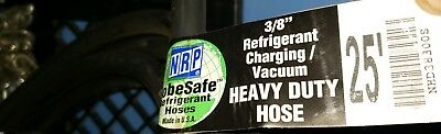 "NRP Refrigerant Charging/Vacuum Hose 3/8"" Straight Fittings 25' long"