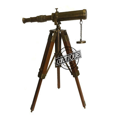 Maritime Vintage Telescope and Wooden Tripod Stand Premium Office Table Top Gift