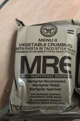 Menu 11 - Vegetable Crumbles - Genuine Us Mre Ration Pack - Camping - Hiking