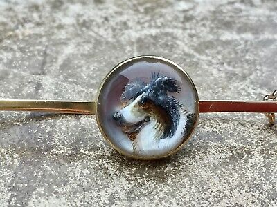 Antique Late Victorian 128Ct Gold Reverse Carved Intaglio Collie Dog Brooch Pin