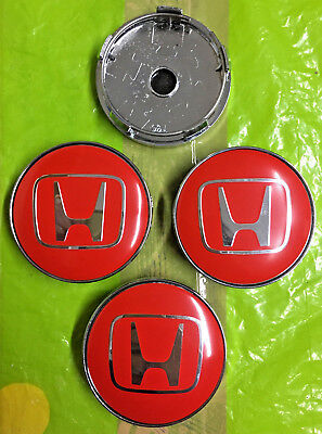 Honda Alloy Wheel Centre Cap Logo 60mm Red/Silver Set Of 4 Hub Caps Emblem Badge