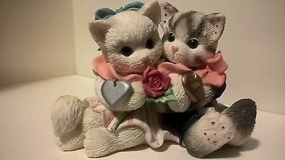 """Calico Kittens Enesco """"Cold Nose Warm Heart""""  Valentine's Day Rose Love"""