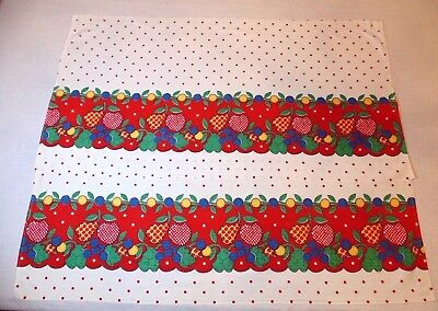 2 Vtg Feed Flour Sack CAFE CURTAINS Red Polka Dot Applique Look Fruit Border