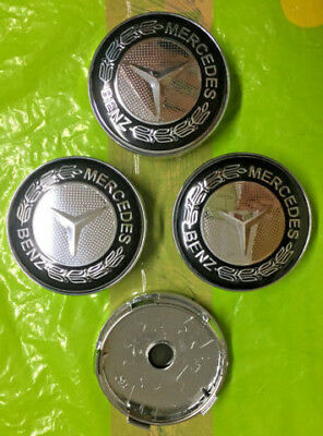 Mercedes Benz Wheel Centre Cap 60mm Black/Chrome Set Of 4 Hub Caps Emblem Badge