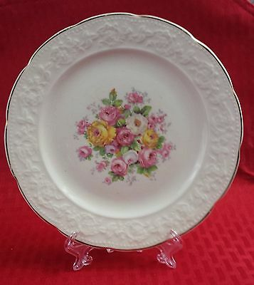 Vintage Collectible Edwin M. Knowles Semi Vitreous Floral Plate Made In U.s.a.