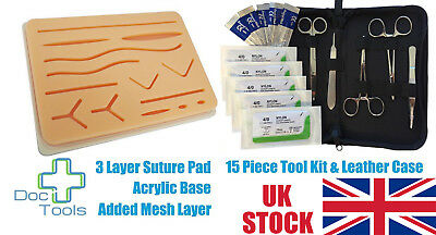 Large Silicon Suture Pad and 16 Piece Tool Kit for Practice