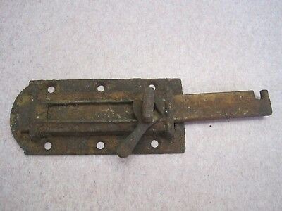antique Vintage old castiron  slide bolt barrel latch door lock shutter 5 3/4