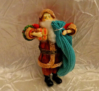 Vintage Santa Figure Christmas Ornament Paper Mache