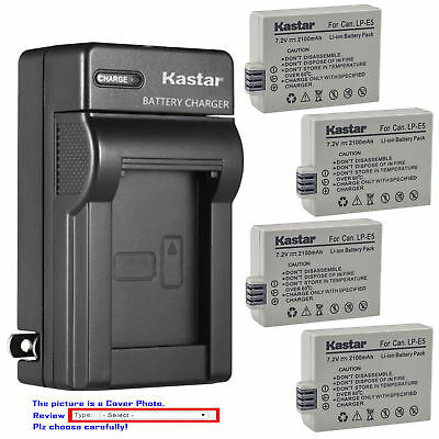 LP-E5 Battery or Wall Charger for Canon Rebel XSi, Rebel XS, Rebel T1i, 450D