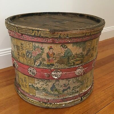 Large Round Antique Chinese Hand Painted Wooden Storage Box. Collect.