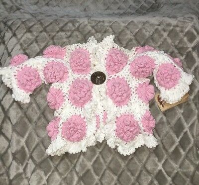 New 2H Knits Baby Girl Crochet Flower Sweater Size 6-12Months Cotton
