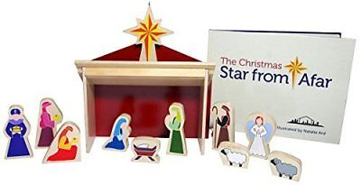 New The Christmas Star From Afar Wooden Nativity Set & Book 16 pieces Child 3+