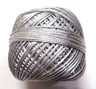 SILVER 12 Ply Strand Cotton Polyester Thread Crochet Embroidery Lace 1 mm Thick