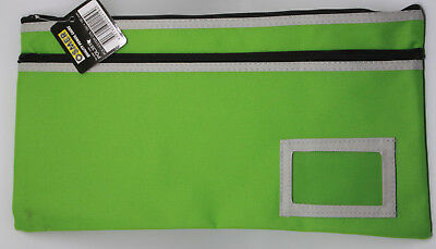 Osmer Pencil Case Green 350 x 180 mm 2 black zips with name insert Stain LOT 1