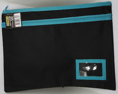 Osmer Pencil Case Large Black 350 x 260 mm 2 Blue zips with name insert LOT 21