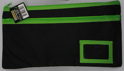 Osmer Pencil Case Black 350 x 180 mm 2 green zips with name insert LOT 8