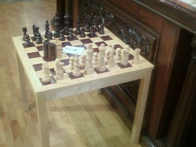 """Chess Table Wood 29"""" square table Excellent Condition"""