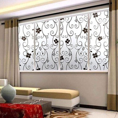 3D Static Cling Frosted Flower Glass Window Door Film Sticker Privacy Room Decor