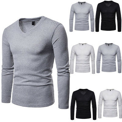 Mens Thermal Cotton v-Neck Skivvy Turtleneck Sweaters Stretch Shirt Tops us