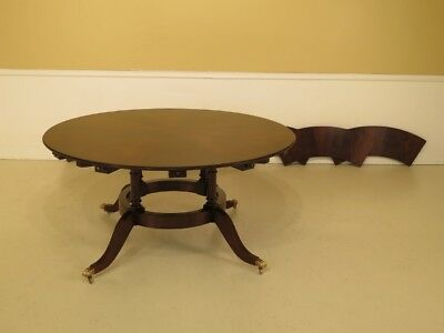LF30183EC: Large Round Mahogany Dining Room Table w. Outer Leaves