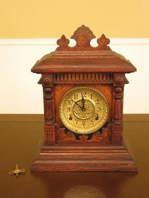 F45498EC: Antique Victorian Oak Mantle Clock  Age: Approx: 120 Years Old